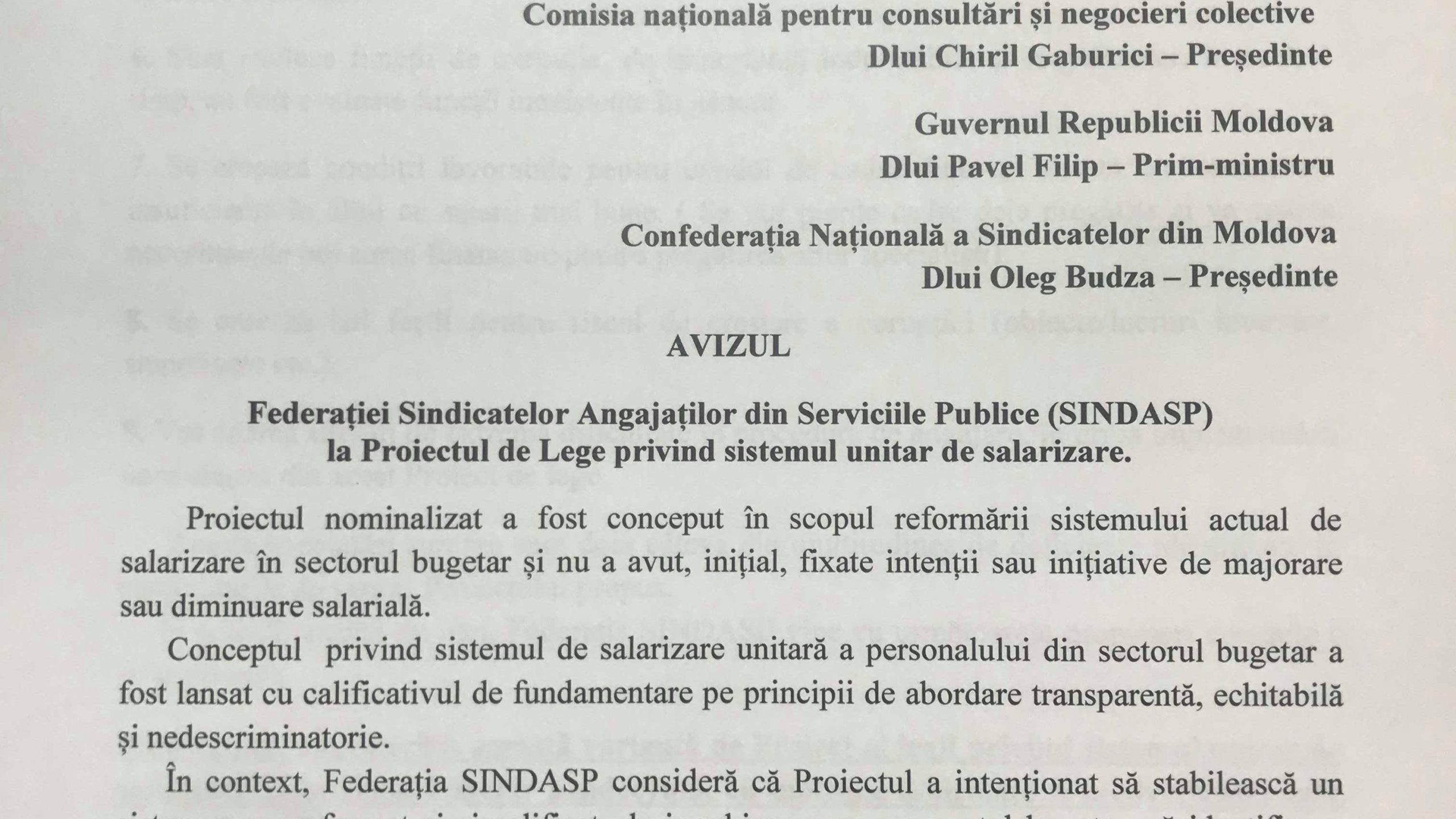 AVIZUL Federației Sindicatelor Angajaților din Serviciile Publice (SINDASP) la Proiectul de Lege privind sistemul unitar de salarizare în sectorul bugetar