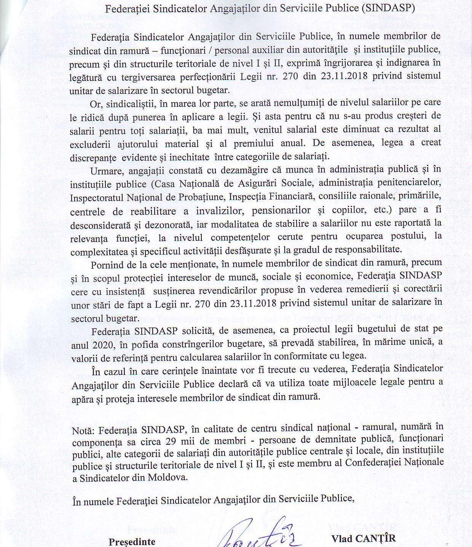 Declarația Federației Sindicatelor Angajaților din Serviciile Publice (SINDASP)