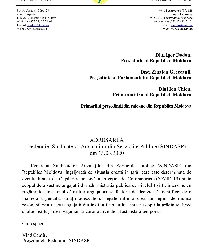 A D R E S A R E A Federației Sindicatelor Angajaților din Serviciile Publice (SINDASP) din Republica Moldova din 13.03.2020