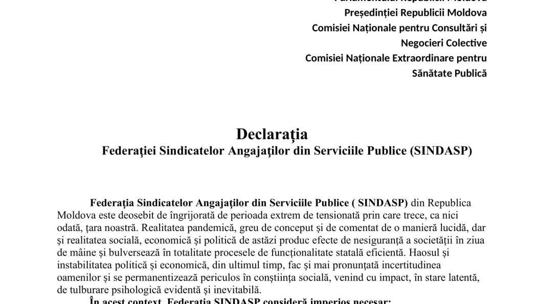 Federația Sindicatelor Angajaților din Serviciile Publice (SINDASP) – îngrijorată de perioada extrem de tensionată prin care trece Republica Moldova la moment