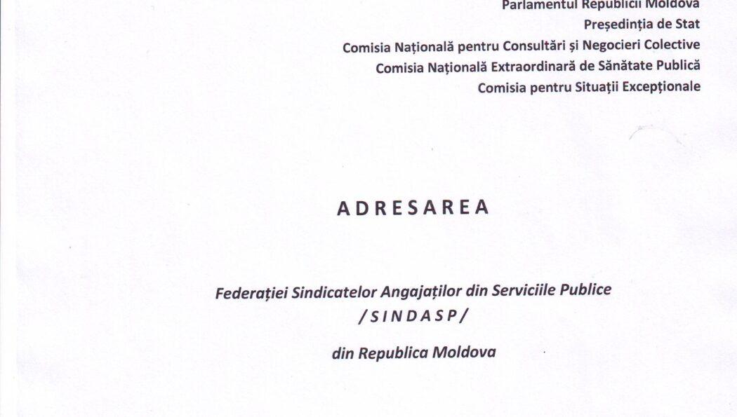 ADRESAREA Federației SINDASP, prin care se solicită anularea Hotărârii CNESP nr.33 din 28.09.2020, privind acordarea indemnizației unice în mărime de 16.000 lei angajaților instituțiilor bugetare care s-au infectat cu Covid-19