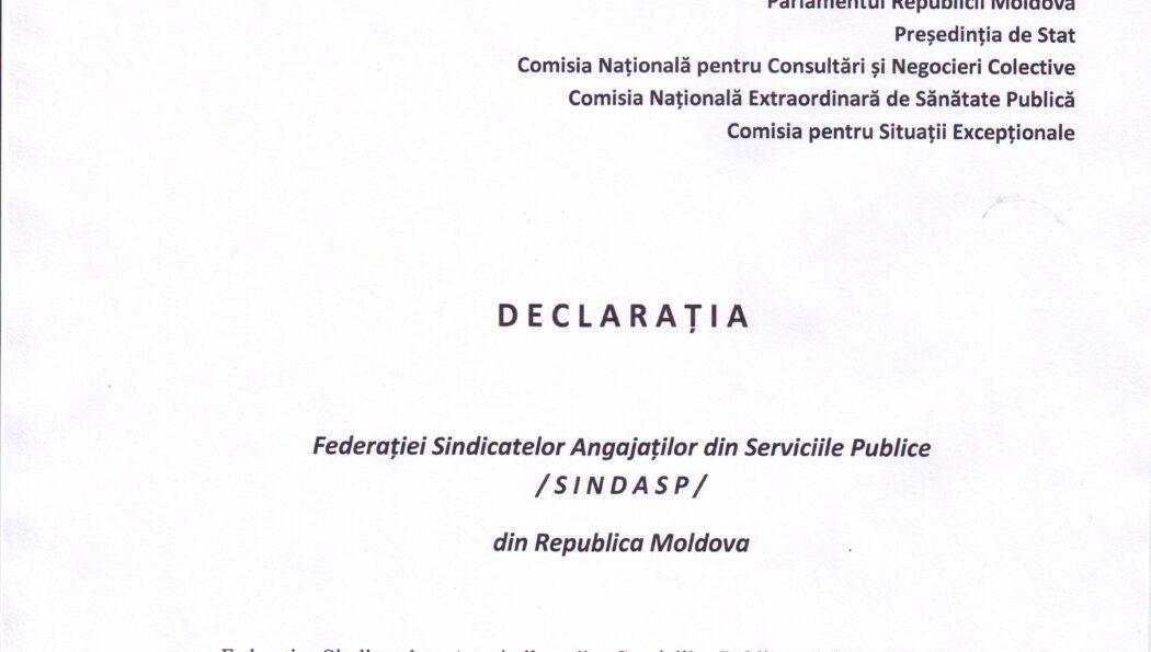 D E C L A R A Ț I A Federației SINDASP în contextul Dispoziției nr.3, din 15 aprilie 2021, a Comisiei pentru Situații Excepționale a Republicii Moldova prin care se suspendă, pe perioada stării de urgență, acțiunea art. 21 din Legea 270/2018 privind sistemul unitar de salarizare în sectorul bugetar privind dreptul la acordarea premiilor unice