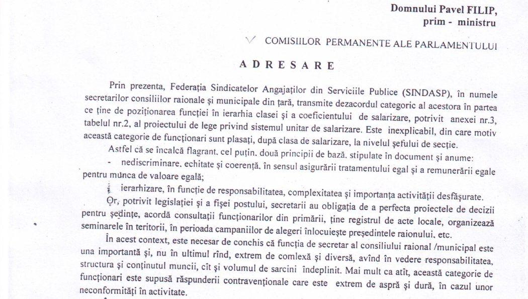 Adresarea Federației SINDASP în numele secretarilor consiliilor raionale/municipale către conducerea țării și fracțiunile parlamentare cu privire la proiectul de lege privind sistemul unitar de salarizare