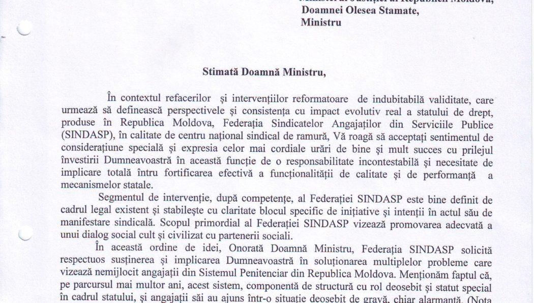 Inițiativa Federației SINDASP întru ameliorarea situației privind condițiile de muncă în sistemul penitenciar din Republica Moldova